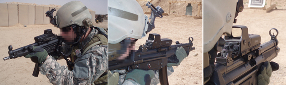 MFI HK Low 5.5 Long Scope Mount on Heckler & Koch MP5 on station in Iraq.