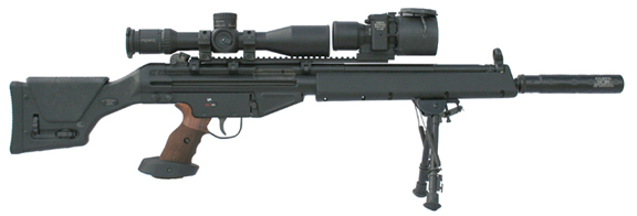 Photo of MFI 34mm Heavy Duty Sniper Ring mounted on a PSG-1 / HK91 / PTR 91 with a Premier Reticles Sniper / Tactical Scope.