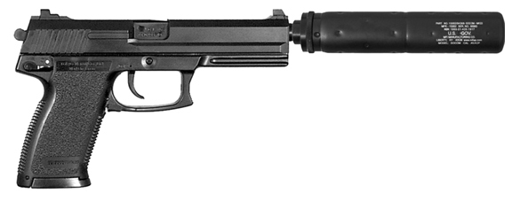 MFI SOCOM Style Fake Silencer on an H&K Mark 23 pistol.