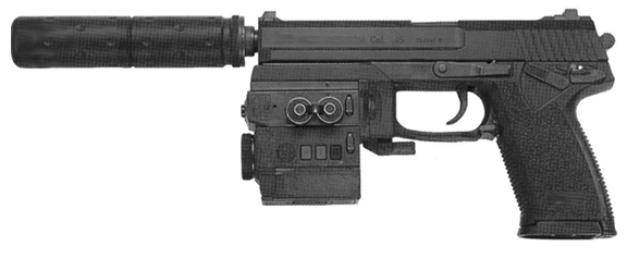 MFI SOCOM Style Fake Silencer on a H&K Mark 23 pistol with Wilcox Laser & Light Module