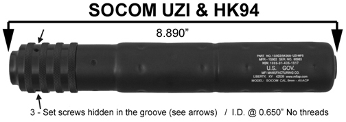 MFI SOCOM Style Fake Silencer for HK 94 & IMI UZI markings of the barrel shroud.