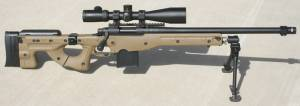 """Remington 700 SPS the an 18 inch barrel (cut down from 26"""") in an AI 2.0 sniper stock / chassis with a MFI Muzzle Brake designed specifically to complete the look of your Remington 700 in the Accuracy International Chassis. 1/2 X 28 tpi."""