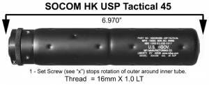 MFI SOCOM Fake Silencer for HK USP 45 Tactical Pistol for sale.