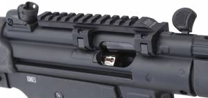 MFI Special Low Profile Scope Mount for HK MP5K series weapons. Special as it allows greater space for the over molded cocking handle to be operated. Photo is a customer's registered NFA / SBR.