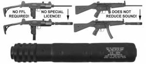 MFI SOCOM Style Fake Silencer / Barrel Shroud fits BOTH the Heckler & Koch HK94 and the IMI Uzi Full Size Carbine.