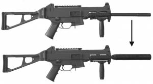 Comparing Standard H&K USC45 Carbine with MFI USC45 Kompfswimmer Marked Fake Silencer / Barrel Shround