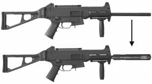 MFI SOCOM Style Fake Silencer for HK USC45 before and after the application of the barrel shroud. Looks like suppressed HK UMP 45.
