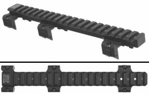 Side and Top views of the MFI 8.5 inch long MFI HK93 Scope Mount.