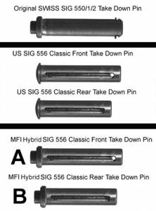 """A"" & ""B"" are the MFI SIG 556 Classic Pins that you get. These are Hybred Captured Pins to look like the original Swiss SIG SANs 550 or 551 Take Down QD Pins"