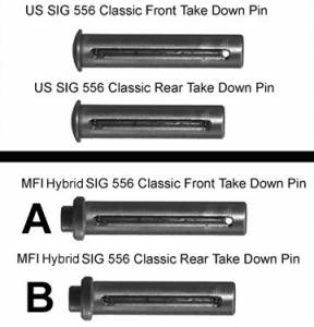 """B"" ONLY is what you get.  MFI SIG 556 Classic Pin. These are Hybred Captured Pins to look like the original Swiss SIG SANs 550 or 551 Take Down QD Pins"