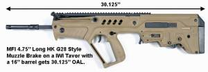 "MFI IWI Tavor HK G28 DMR STYLE MUZZLE BRAKE / Flash Suppressor 4.75"" LONG IN 1/2 X 28 TPI"