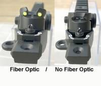 MFI SIG SANs Style Rear Diopter Sight & Rail Combination (Right rear 3/4 view showing Fiber Optic Inserts or No Fiber Optic as seen on the right.).