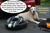 Comet the Yellow Lab gives advice on Halo tapes for Mini Coopers. HALO™ Military Glow In The Dark Tape (Luminous / Phosphorescent Tape.
