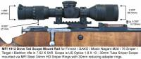MFI 1913 Picatinny Style Scope Mount / Rail for Finnish Army Target / SAKO / Mosin Nagant bolt action rifle M28-76 or M28/76 with MFI 34mm Steel Sniper Scope rings with 30mm neck down reducer adapter and US Optics Sniper Scope.
