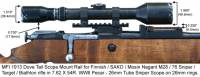 MFI 1913 Picatinny Style Scope Mount / Rail for Finnish Army Target / SAKO / Mosin Nagant bolt action rifle M28-76 or M28/76 with 26mm vintage scope rings and vintage 26mm sniper scope.