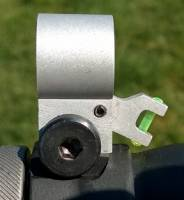NOT FOR SALE PROTOTYPE / MFI SIG 550/1/2 Style Hooded Front Sight. Seen in the WHITE / raw aluminum prototype with the Fiber Optic blade flipped down.