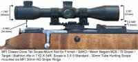 MFI Classic Style Scope Mount / Rail for Finnish Army Target / SAKO / Mosin Nagant bolt action rifle M28-76 or M28/76 with MFI 30mm HD Sniper Scope Rings (Medium Hieght) and 30mm Sniper Scope.