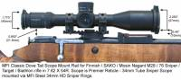 MFI Classic Style Scope Mount / Rail for Finnish Army Target / SAKO / Mosin Nagant bolt action rifle M28-76 or M28/76 with MFI Super Duty Steel 34mm Sniper Scope Rings and Premier Reticle Sniper Scope.