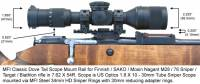 MFI Classic Style Scope Mount / Rail for Finnish Army Target / SAKO / Mosin Nagant bolt action rifle M28-76 or M28/76 with MFI 34mm Steel Sniper Scope rings with 30mm neck down reducer adapter and US Optics Sniper Scope.