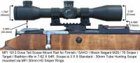 MFI 1913 Picatinny Style Scope Mount / Rail for Finnish Army Target / SAKO / Mosin Nagant bolt action rifle M28-76 or M28/76 with MFI 30mm HD Sniper Scope Rings (Medium Hieght) and 30mm Sniper Scope.
