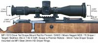 MFI 1913 Picatinny Style Scope Mount / Rail for Finnish Army Target / SAKO / Mosin Nagant bolt action rifle M28-76 or M28/76 with MFI Super Duty Steel 34mm Sniper Scope Rings and Premier Reticle Sniper Scope.