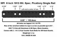 MFI Single Mil Spec. 1913 Picatinny Rail 6 inch long