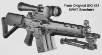 Swiss SIG SANs SG551 SWAT with Versa-Pod Bipod Original Brochure 1980.