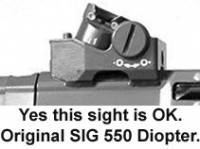 Original SIG SANs SG 550 (PE90) Rear Diopter / Drum welded on sight.